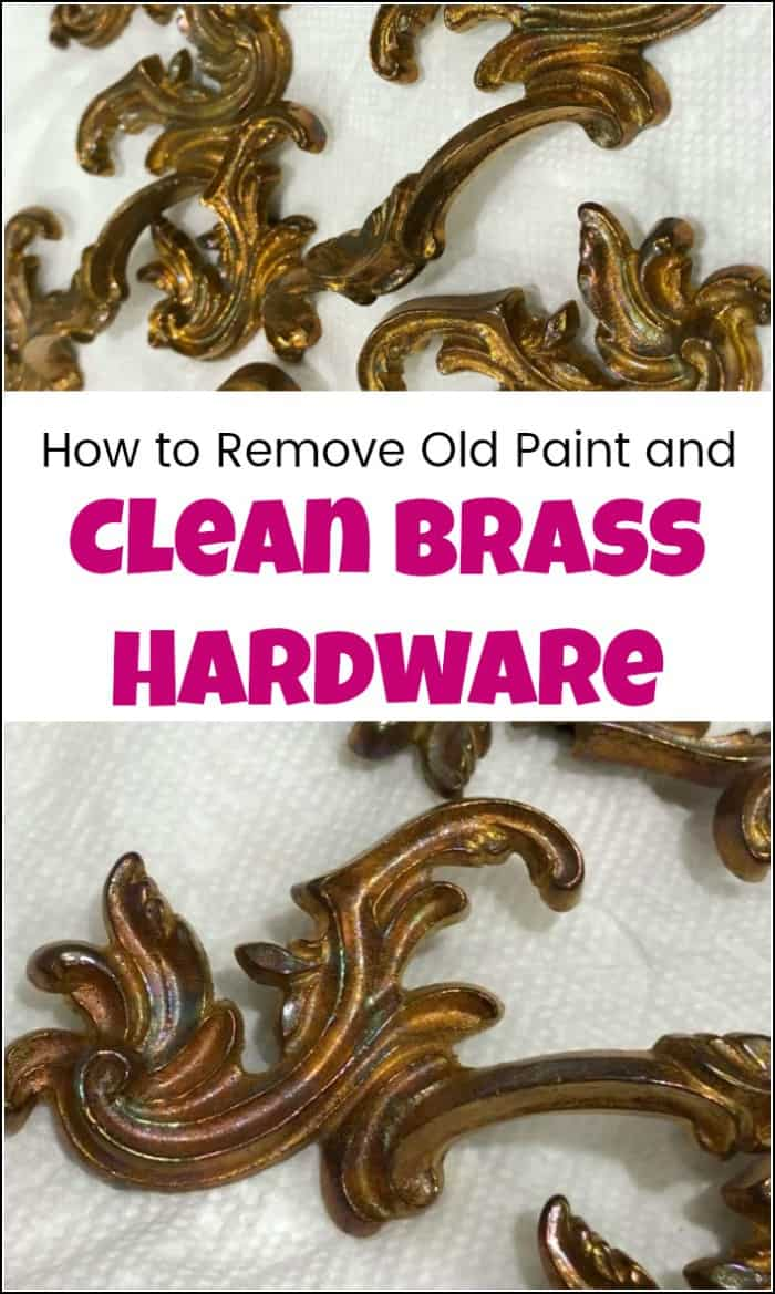 See how to remove paint from vintage hardware pulls and clean brass to its original beauty. These old brass hardware pulls are gorgeous once cleaned. Cleaning brass hardware is easy with this DIY brass cleaner method. #cleanbrass #cleanhardware #removepaint #cleanbrasshardware #cleanvintagehardware #cleaninghardware #cleaningbrasshardware #removepaintfromhardware