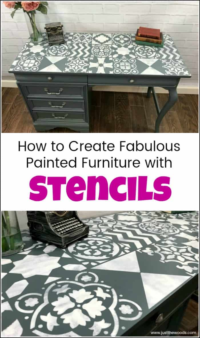 Create a painted furniture masterpiece by adding unique stencil patterns from Cutting Edge Stencils. Large wall stencils work great for furniture makeovers. #paintedfurniture #cuttingedgestencils #wallstencils #furniturestencils #stenciledfurniture #stencilideas #stencilsforpainting #stencilpatterns