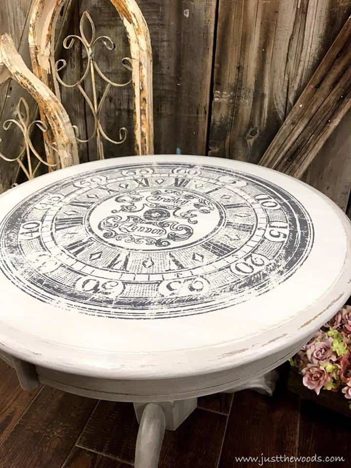 image transfer ideas, transfer images to furniture, transfer images to wood, image transfer on wood table, clock image on table