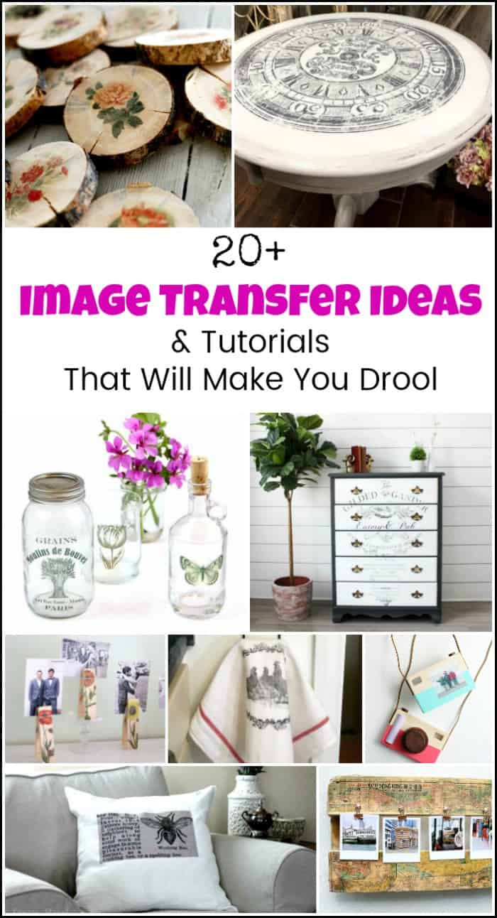 So many image transfer ideas. From how to transfer images to wood, photo transfer to canvas tutorials, image transfers to fabric and even photo transfer to glass. #imagetransfers #imagetransferideas #imagetransfertowood #transferpicturetowood #phototransfer #transferimagetowood #phototransfertoglass
