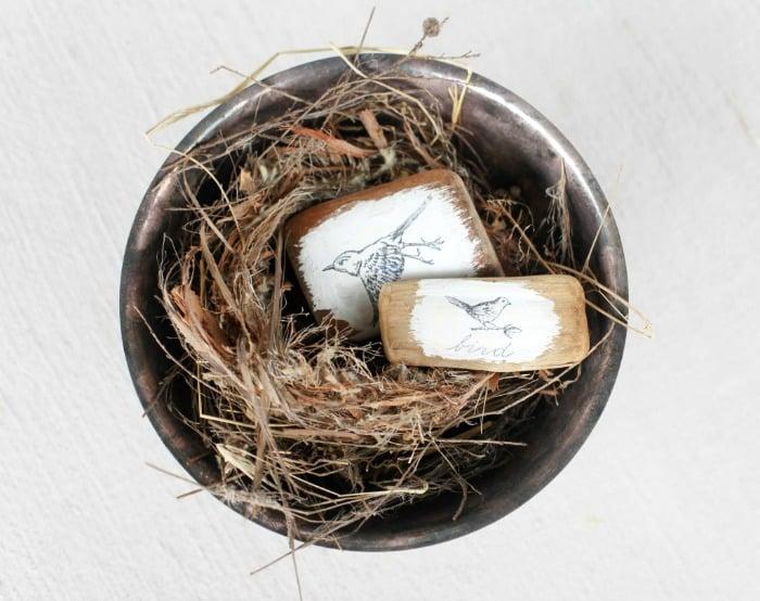 image transfer ideas, bird image on driftwood, transfer images to wood blocks,