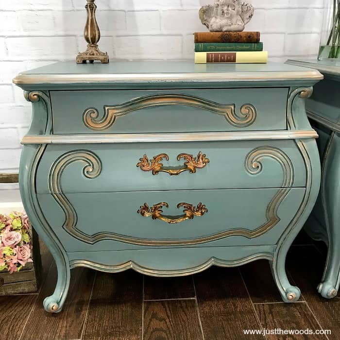 blue and gold painted furniture, painted bombe chest, metallic highlights, gilding wax, paint wood furniture, beauty and the beast inspired