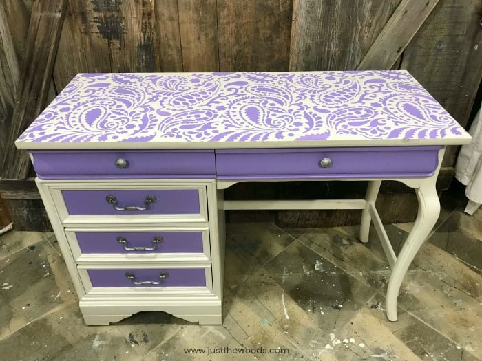 girls desk with stencil, cutting edge stencils, paisley stencil on desk, white and purple painted desk