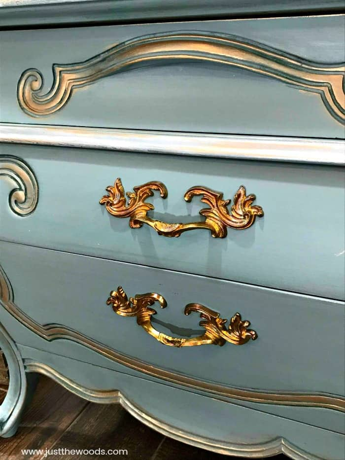 cleaned hardware on painted furniture, brass hardware on painted furniture