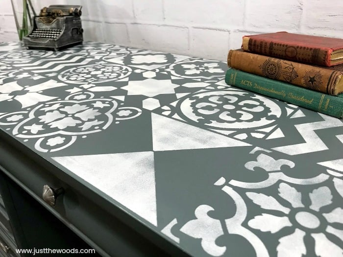 white painted stencil ideas, furniture makeover with stencil, cutting edge stencils