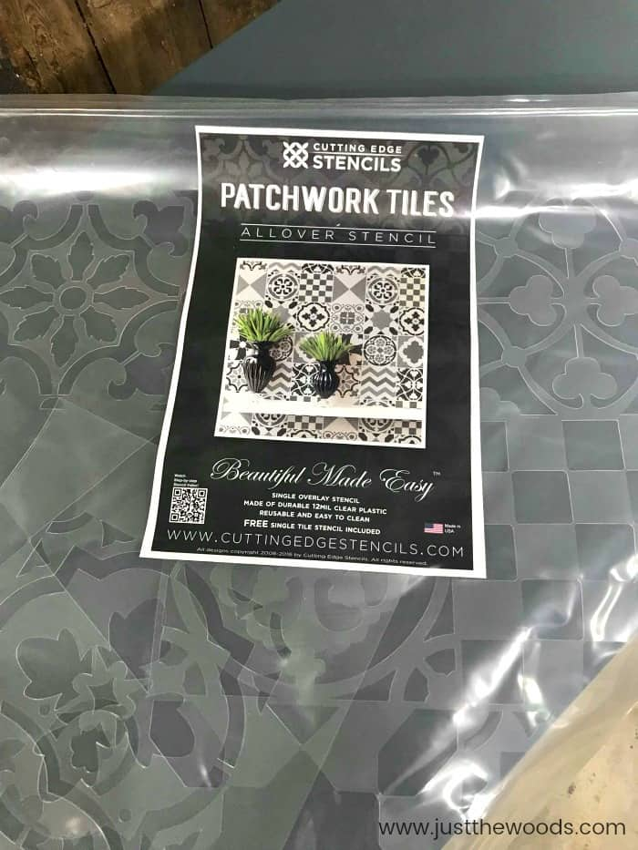 cutting edge stencils, patchwork tiles stencil, wall stencil, large wall stencil