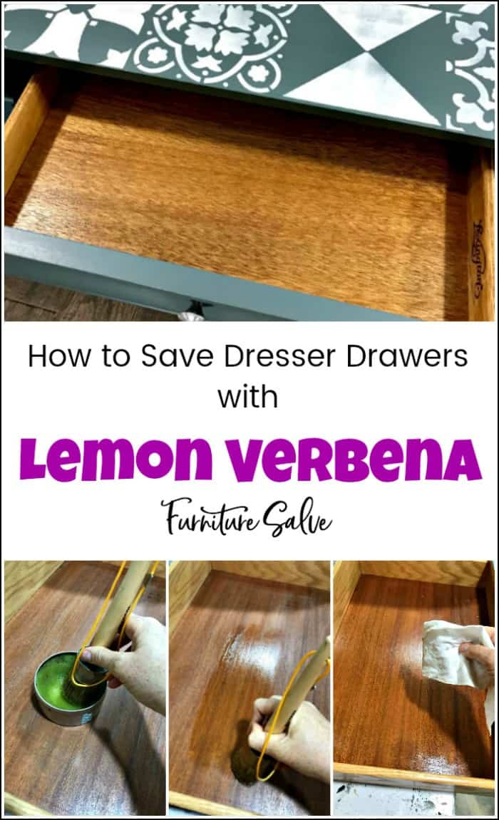 See how to use lemon verbena furniture salve to save dresser drawers, preserve & refresh wood. Save time and money on your next project with lemon verbena. Wise Owl lemon verbena furniture salve for conditioning wood and saving furniture. #lemonverbena #wiseowlverbena #lemonverbenasalve #furnituresalve #howtopreservewood #restorewooddrawers #lemonverbenawiseowl