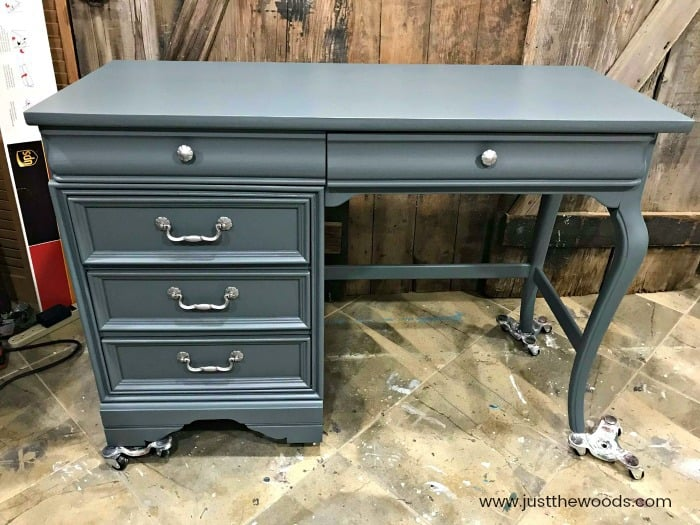 gray painted desk, gray chalk painted desk, gray painted furniture, silver hardware gray desk