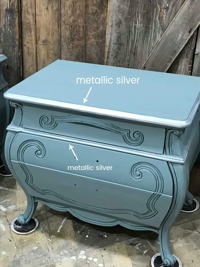 metallic silver, silver paint, painted furniture with metallic silver