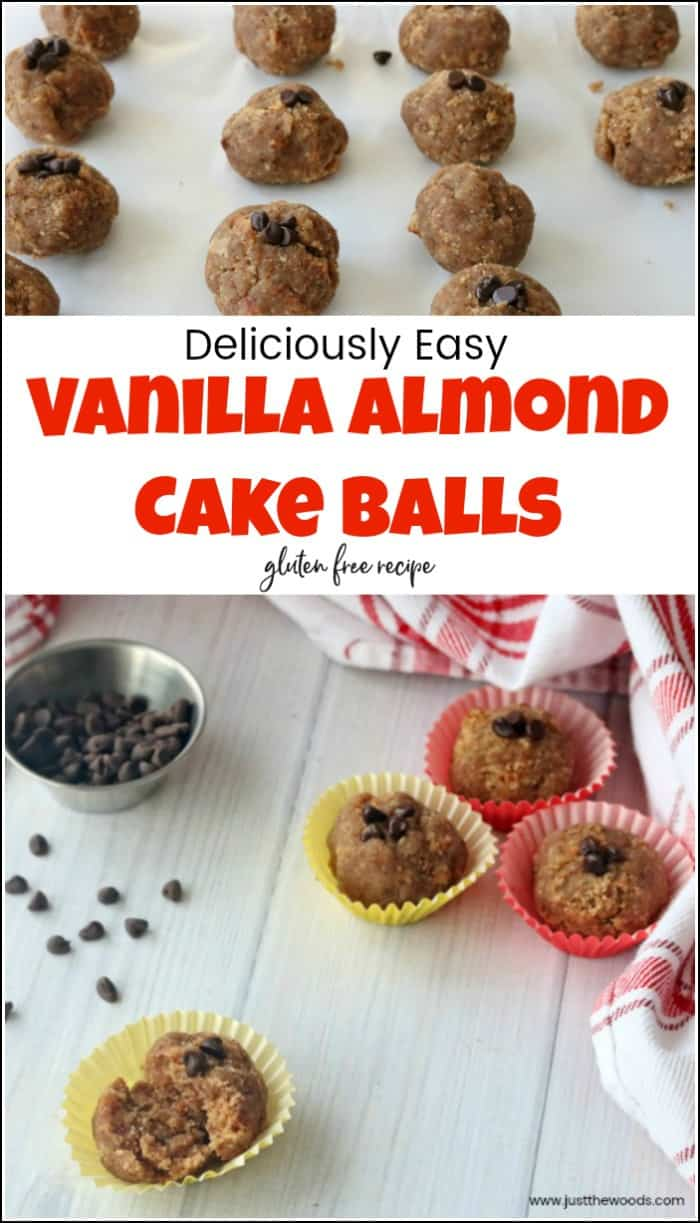 Whether you call them cake balls or cake pops this delicious cake ball recipe is easy, gluten-free and so good. See how to make cake balls with a few clean ingredients. #cakeballs #vanillacakeballs #cakeballsrecipe #cakepops #glutenfreesnacks #vanillacakepoprecipe