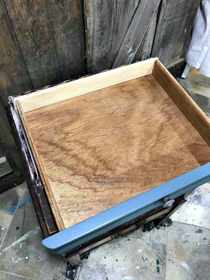 wooden drawer, old furniture drawer, how to restore old wood, lemon verbena