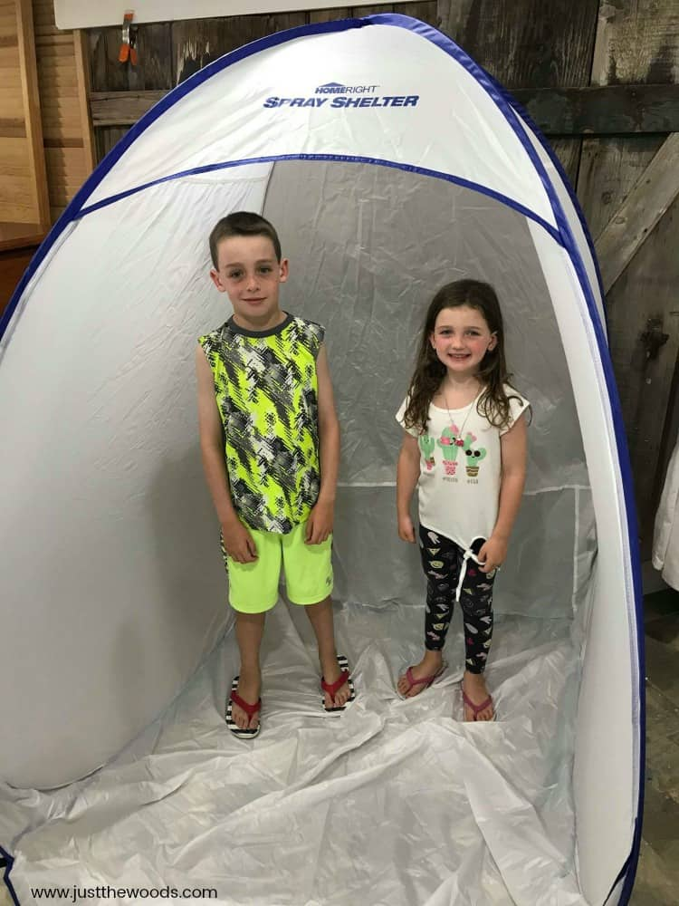 homeright spray shelter, kids in spray tent, paint sprayer booth, spray booth for indoors