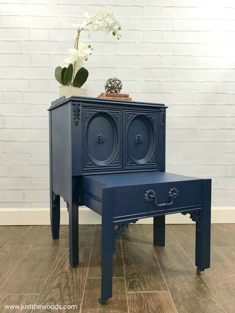 blue painted table, blue painted furniture,