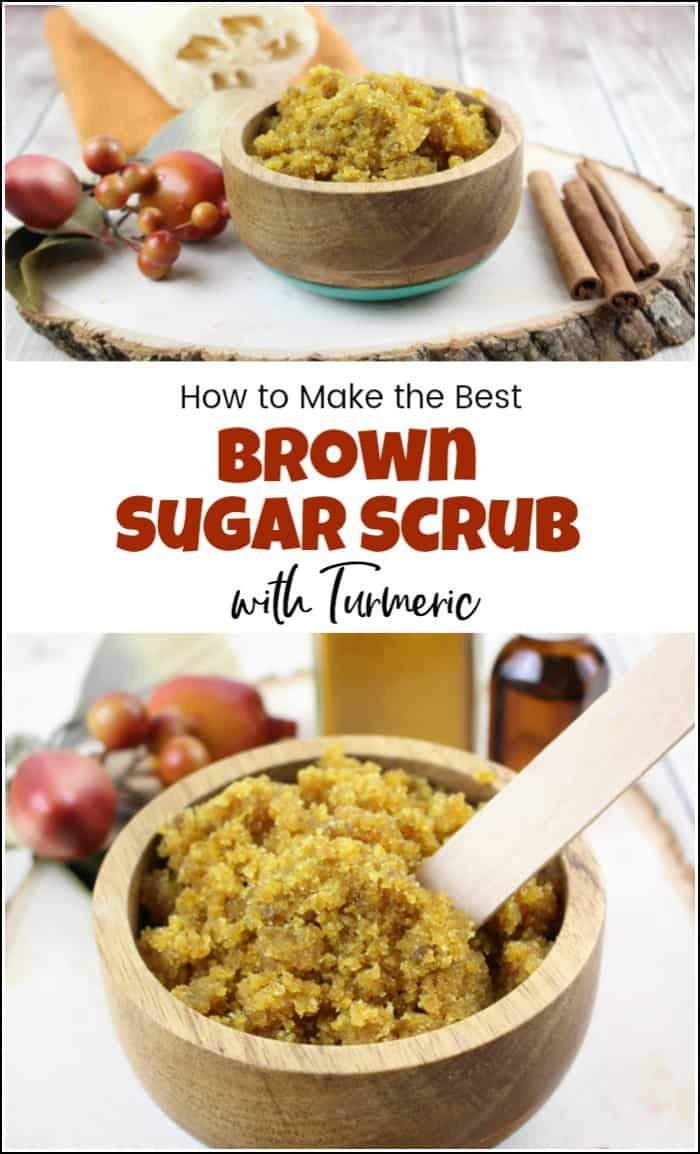See how to make your own brown sugar scrub. Let's add turmeric and make an amazing brown sugar body scrub with so many benefits. Homemade sugar scrub with turmeric and cinnamon bark is a great homemade exfoliator. #brownsugarscrub #homemadesugarscrub #sugarscrubrecipe #diysugarscrub #homemadebodyscrub