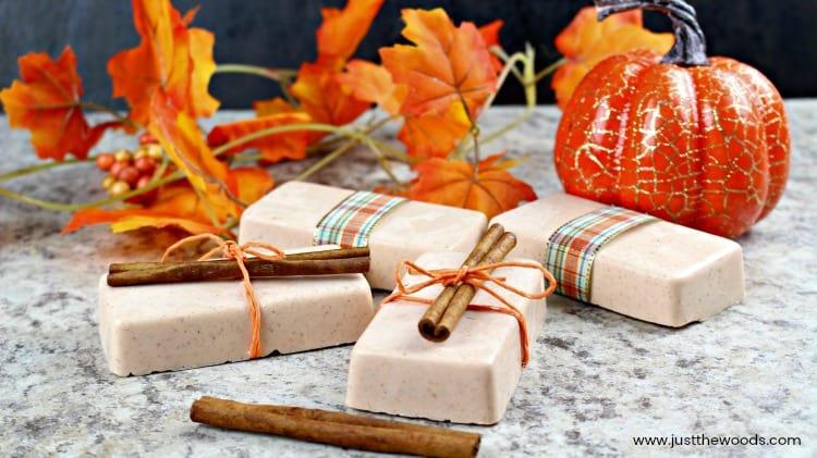 diy soap bars, cinnamon wrapped diy soap, pumpkin soap