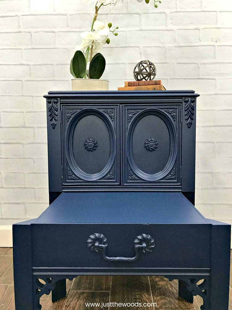 blue painted table, blue painted furniture, navy blue painted table, blue furniture, table with pull out drawer