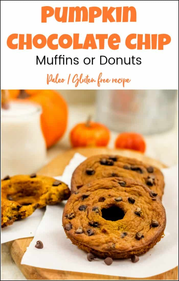 Fill the kitchen with the aroma of pumpkin with these healthy pumpkin chocolate chip muffins. You can use this healthy pumpkin muffin recipe to make donuts. #pumpkinchocolatechipmuffins #pumpkindonuts #chocolatechippumpkinmuffins #glutenfreedonuts #healthypumpkinmuffins