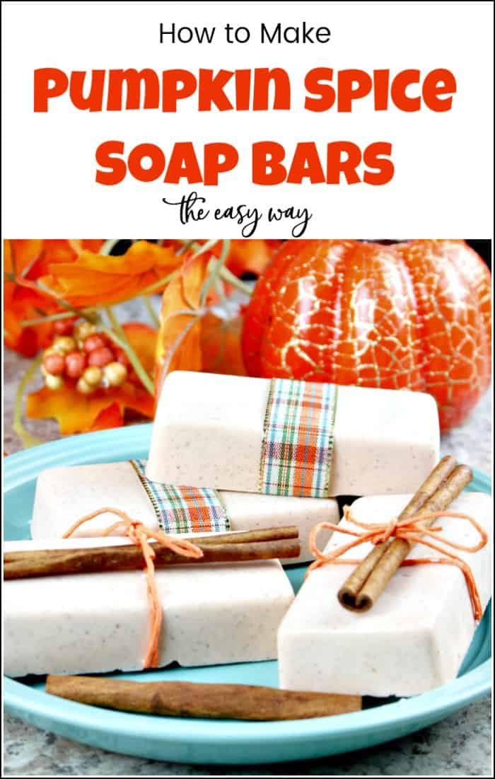 See how to make soap at home with this super easy DIY soap bars recipe in the all loved pumpkin spice scent. You will love this all natural soap. #pumpkinspice #DIYsoap #DIYsoapbars #homemadesoap #howtomakesoap #pumpkinsoap #handmadesoap #soapmaking