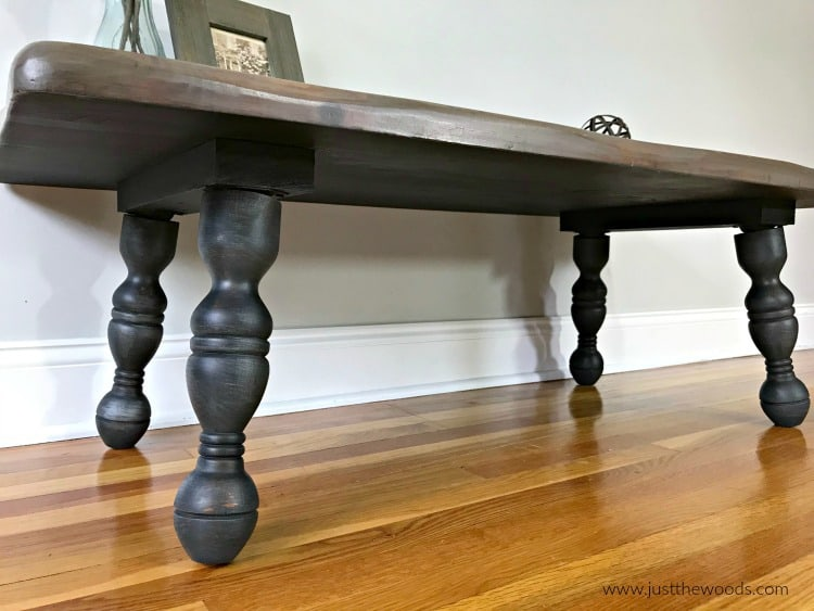 black painted furniture, wood stain, black stain, brown stain, rustic wood coffee table