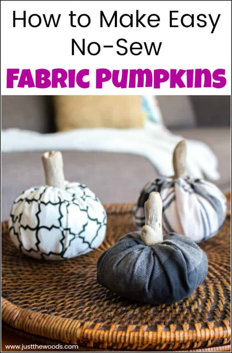 Fabric pumpkins make the perfect addition to your Fall home decor. See how to make fabric pumpkins the easy way with this no-sew fabric pumpkins tutorial. No need to break out the sewing machine when you can create DIY fabric pumpkins with just a few simple steps. #fabricpumpkins #nosewfabricpumpkins #clothpumpkins #DIYfabricpumpkins
