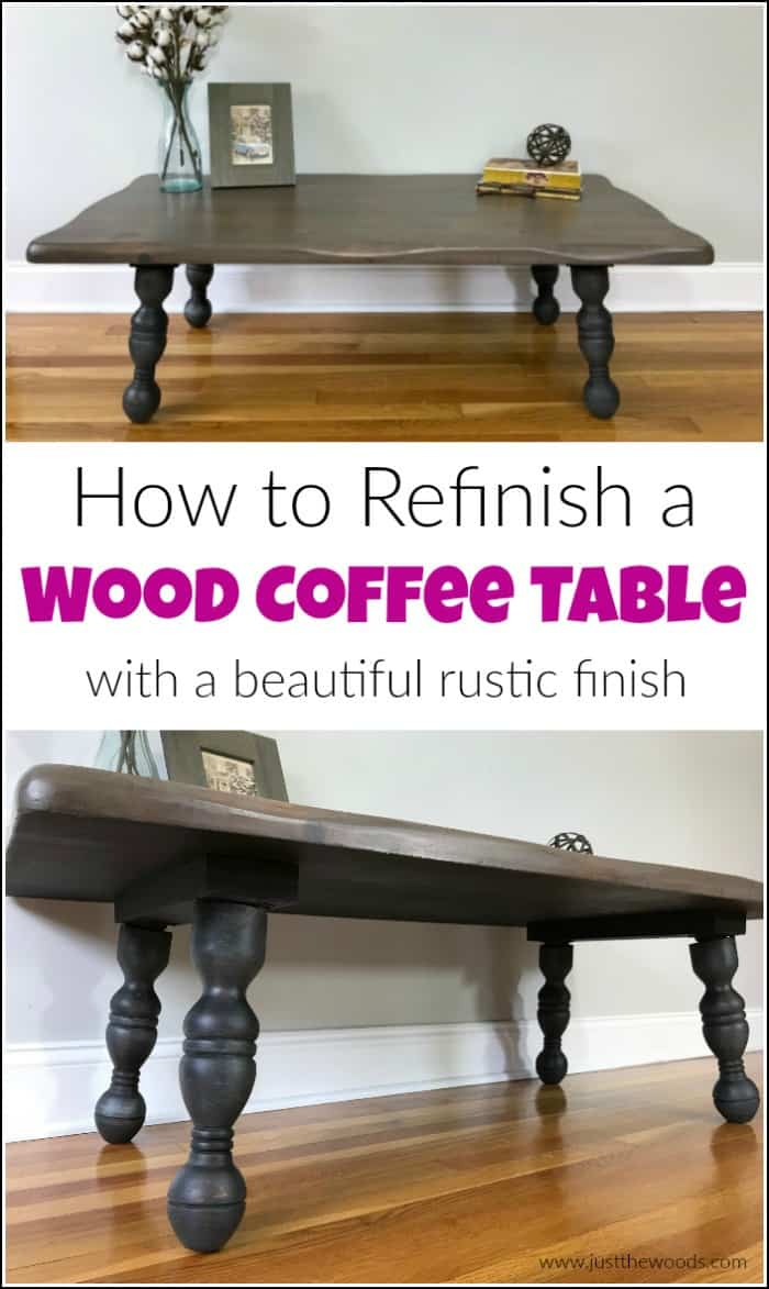 See how to refinish a rustic wood coffee table with beautiful results. Transform an old wood coffee table into a gorgeous rustic coffee table in a few steps. #refinishingatable #rusticcoffeetable #woodcoffeetable ##howtorefinishfurniture #howtorefinishatable #smallwoodentable #paintedcoffeetables #coffeetablemakeover