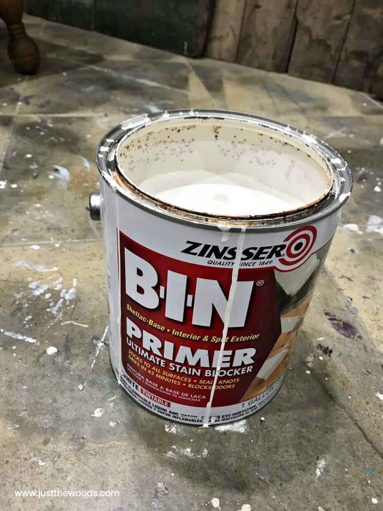 bin primer, zinsser primer, shellac based primer, white primer