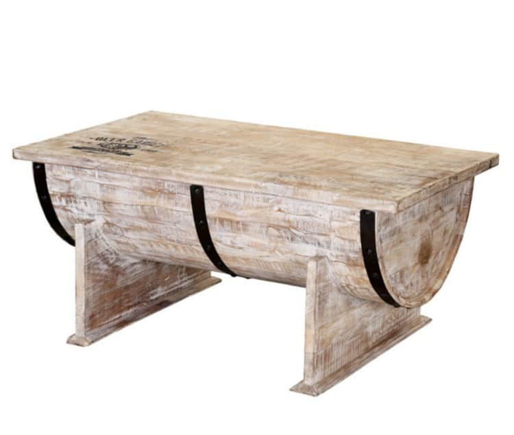 wine barrel coffee table, white wood barrel coffee table, rustic coffee tables
