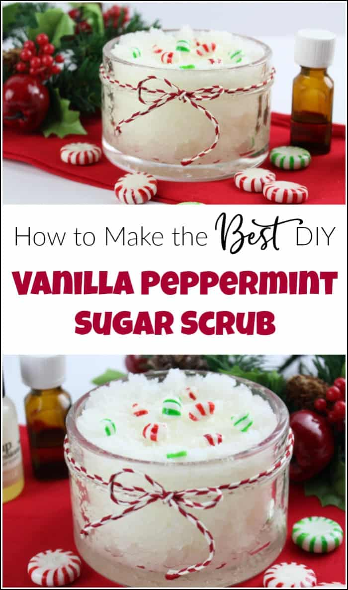 Vanilla peppermint sugar scrub is easy to make yourself and makes the perfect gift for the holidays. Make your own DIY peppermint sugar scrub quick and easy. Homemade sugar scrub made with essential oils are the best. #peppermintsugarscrub #vanillapeppermint #DIYsugarscrub #essentialoilsugarscrub #homemadesugarscrub #mintscrub #peppermintfootscrub #peppermintbodyscrub