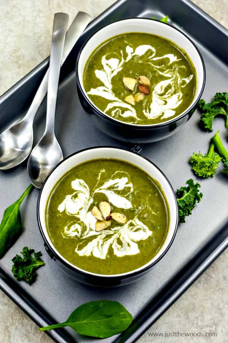 spinach soup, spinach soup recipe, broccoli spinach soup, kale spinach soup