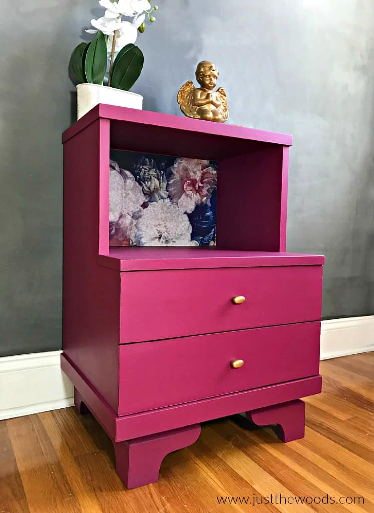 decoupage on wood, painted nightstand, hand painted furniture, hand painted nightstand, pink painted table,