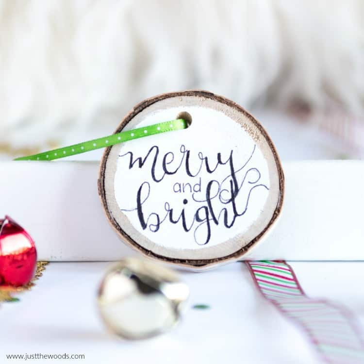 cute Christmas ornaments, wooden ornaments, merry and bright, hand lettering