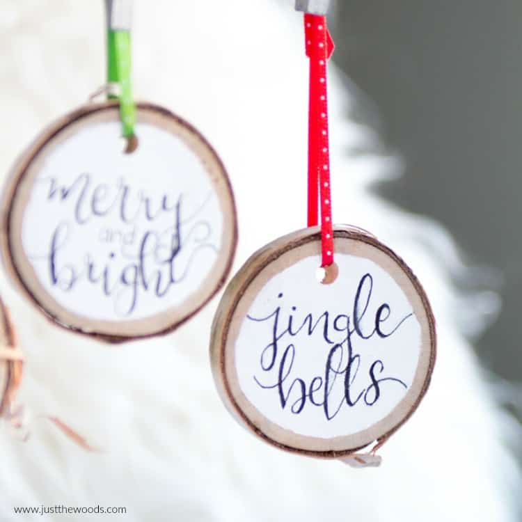 homemade Christmas ornaments, wooden DIY Christmas ornaments, jingle bells Christmas ornaments