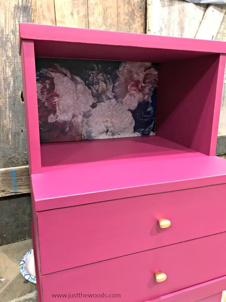 pink painted furniture, hand painted furniture, decoupage furniture, decoupaged furniture