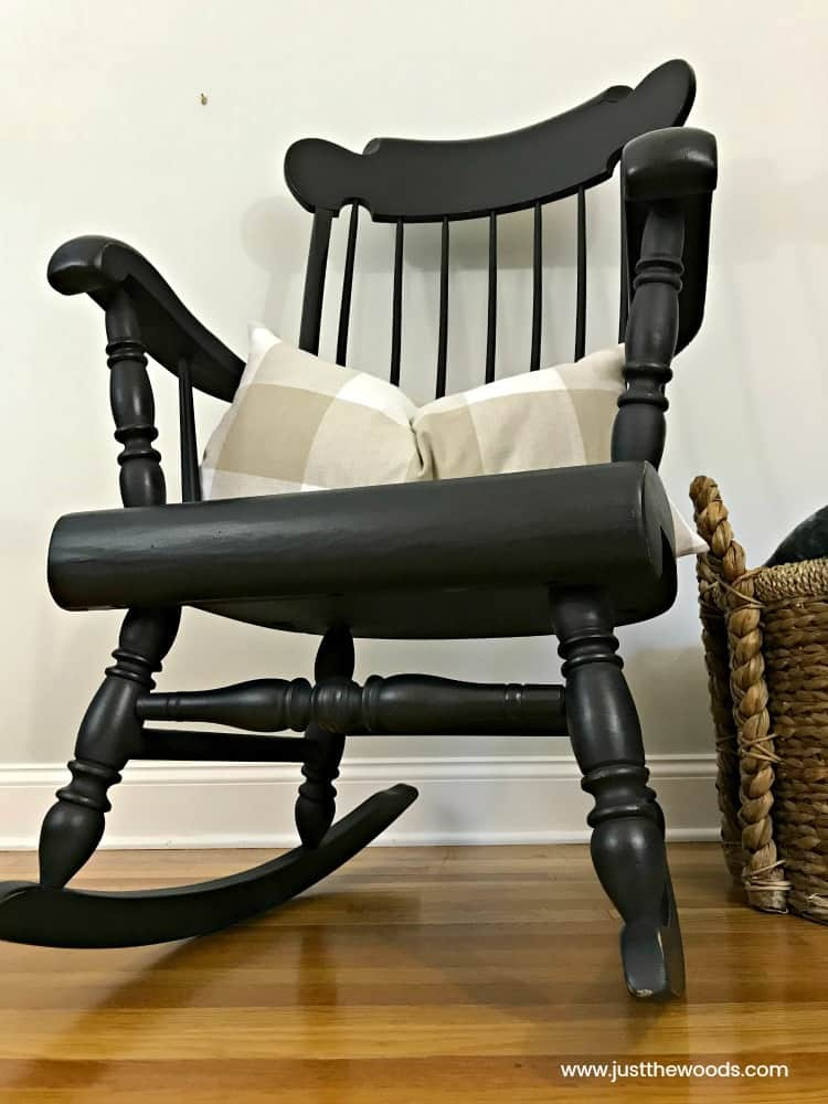 black painted furniture, paint wooden rocking chair, painted rocking chair, painting spindles
