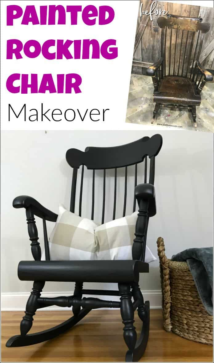 See how to paint a wooden rocking chair with spindles the easy way. A painted rocking chair project doesn't have to be hard because painting a rocking chair with a paint sprayer will make your life easier. #paintrockingchair #paintspindles #paintedrockingchair #woodenrockingchair #paintedfurniture #blackpaintedfurniture #howtopaintspindles #howtouseapaintsprayer #paintsprayerprojects #homeright