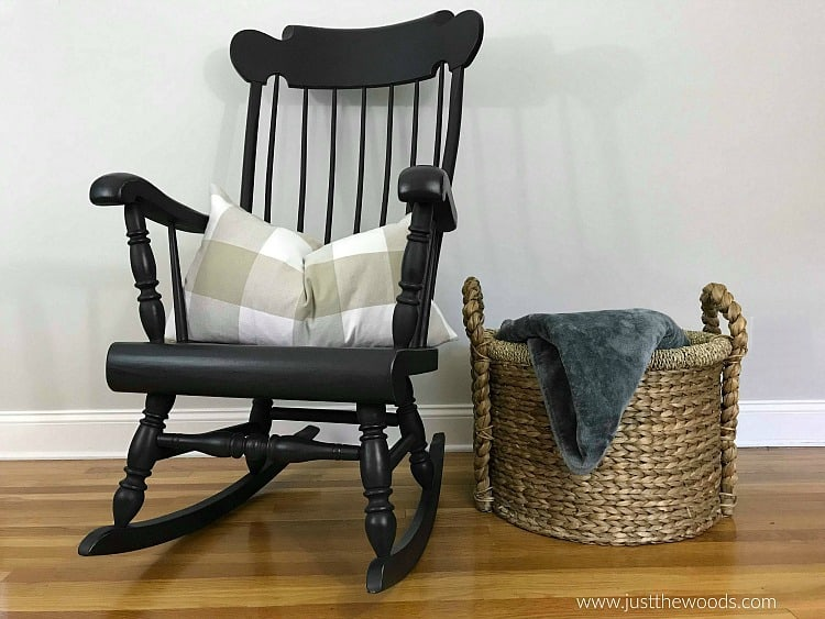 black painted rocking chair, wooden rocking chair painted black, painted spindles rocking chair