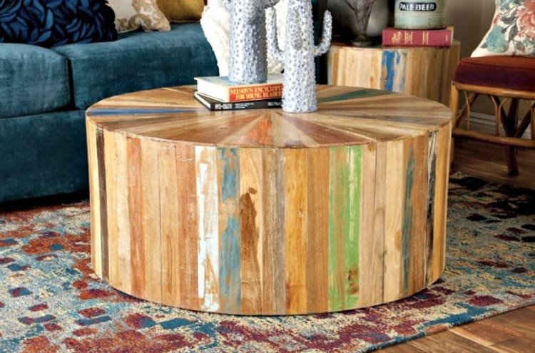 rustic round coffee table, rustic wood coffee table, reclaimed wood coffee table