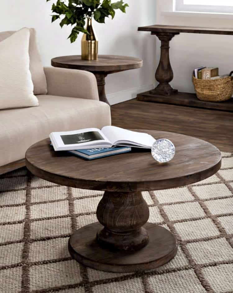 rustic round coffee table, rustic coffee tables, pedestal coffee table