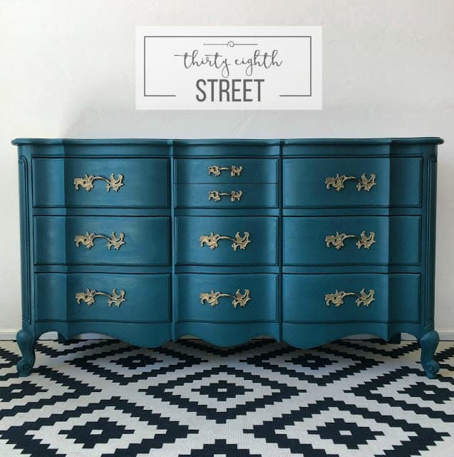 peacock painted dresser, blue painted dresser, thirty eighth street