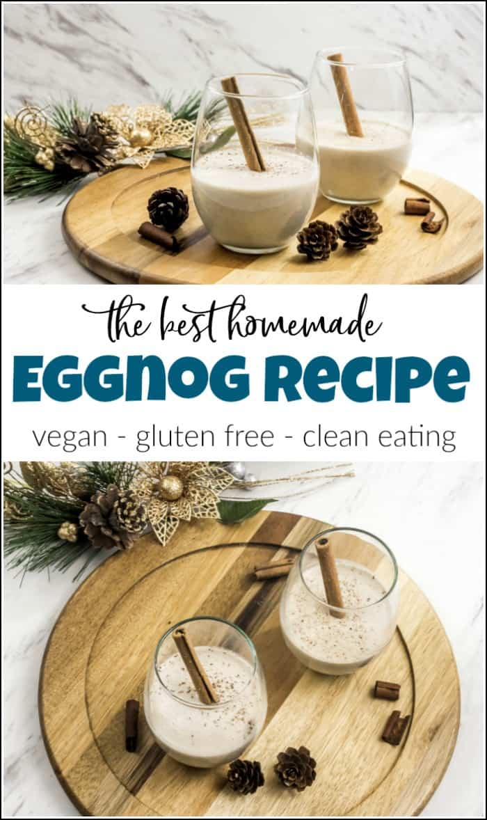 Vegan eggnog recipe that you will love. This homemade eggnog is healthy and delicious made with coconut milk and plenty of flavor. See how to make eggnog at home without all the added sugar. #eggnogrecipe #veganeggnog #homemadeeggnog #eggnogdrink #coconutmilkeggnog #dairyfreeeggnog