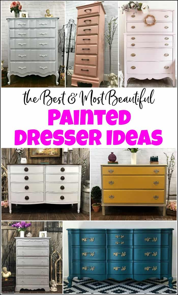 10+ of the Best and Beautiful painted dresser ideas when you want to paint a dresser and need some inspiration. Painted furniture ideas to inspire you. #painteddresserideas #painteddressers #howtopaintadresser #paintedchestofdrawers #painteddresserbeforeandafter #paintedfurniture #paintedfurnitureideas #paintingfurniture