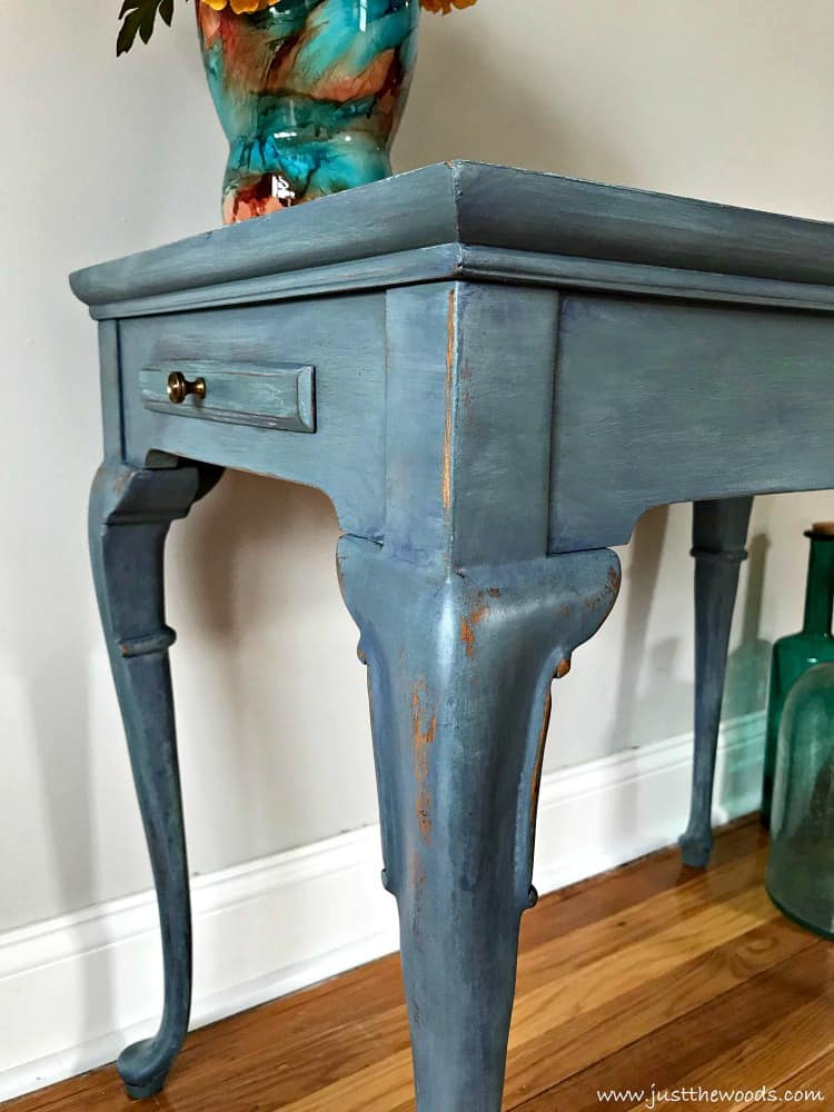 blue painted table, denim painted table, blue painted furniture, layering paint, paint layers chalk paint