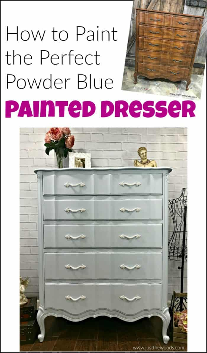 A painted dresser allows you to keep an old piece of furniture while giving it a whole new look. Need a few painted dresser ideas? Enjoy this DIY dresser. #painteddresser #DIYdresser #painteddresserideas #howtopaintadresser #paintedfurniture #dressermakeover #painteddresserbeforeandafter #howtorefinishadresser #howtopaintfurniture