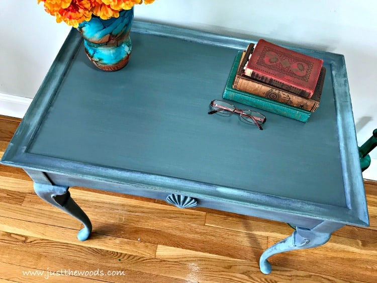coastal blue painted furniture, painted tea table, blue painted table, layering paint, how to layer paint