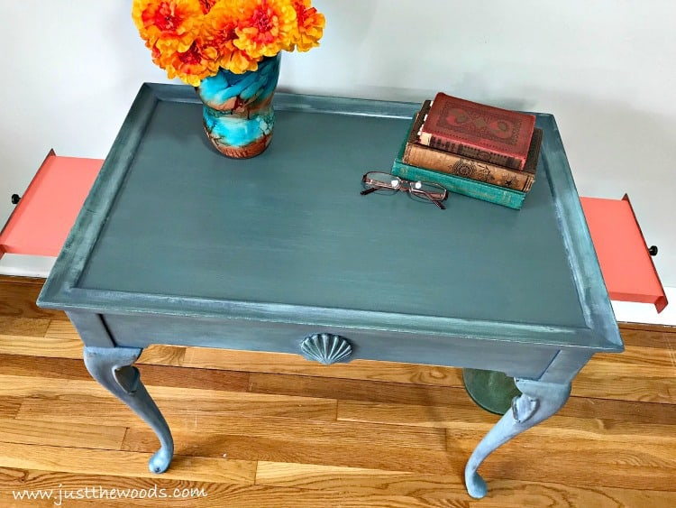 blue and coral painted furniture, coastal painted furniture, pop of color, painted table with pull out sides