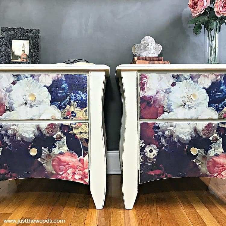 Decoupage Furniture, painted tables with decoupage drawers, flowers on painted furniture