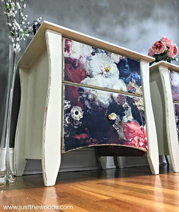 cream painted tables, chalk painted tables, decoupage tables, Decoupage Furniture, cloudy wall