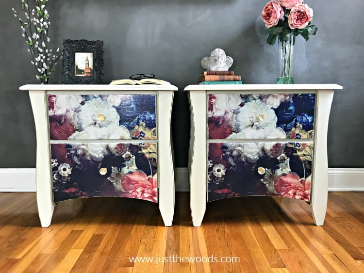 off white painted tables, off white painted furniture, flower paper on drawers, Decoupage Furniture