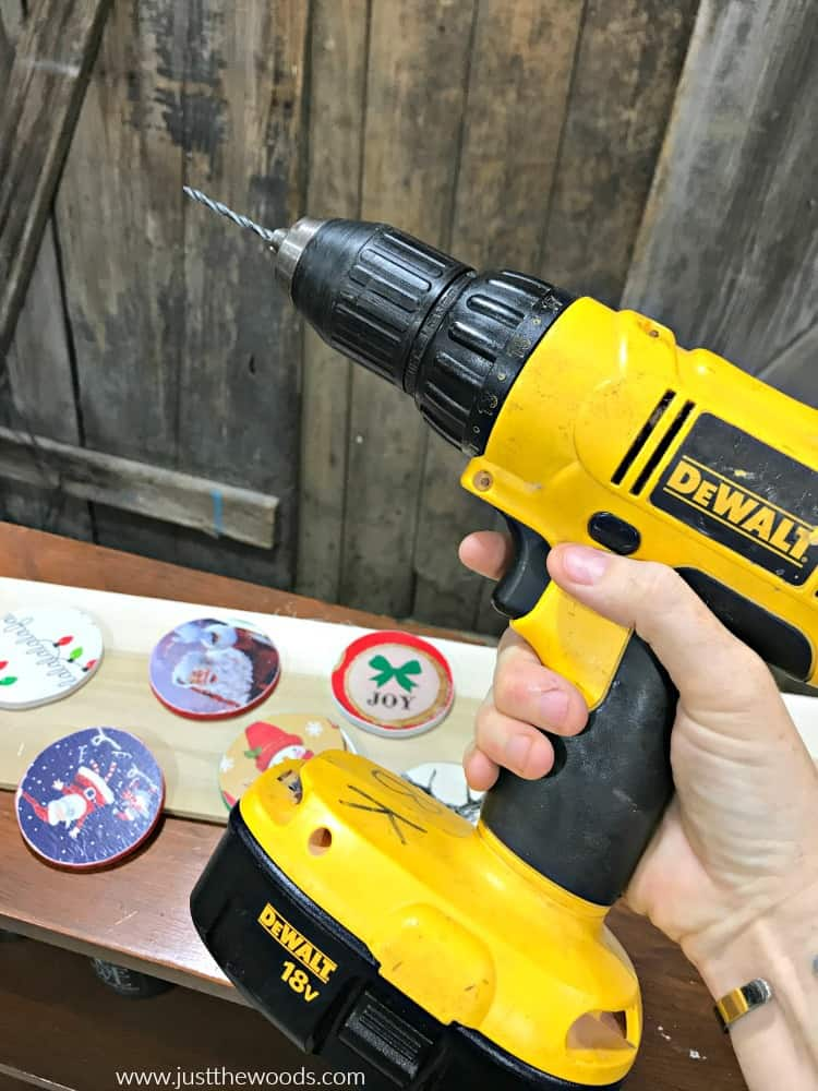 dewalt drill, electric drill, make holes in DIY Wooden Christmas Ornaments