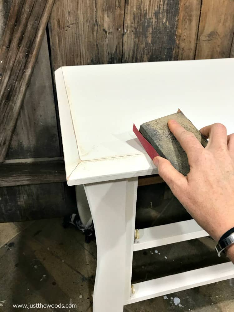 distressing furniture, distressing with sandpaper, distressing painted furniture